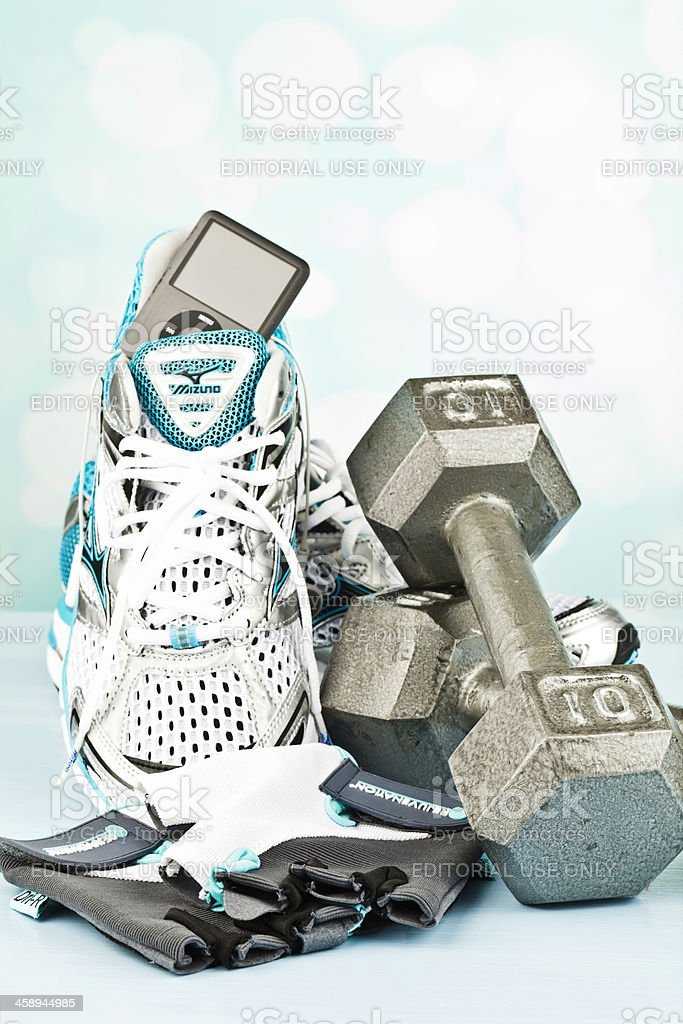 Women's Workout Gear with iPod Nano stock photo