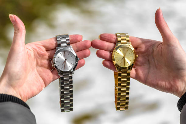 Women's wrist watch on the girl's hand stock photo