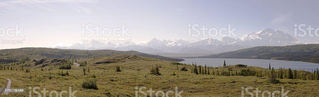 Wonder Lake and Mount Denali stock photo