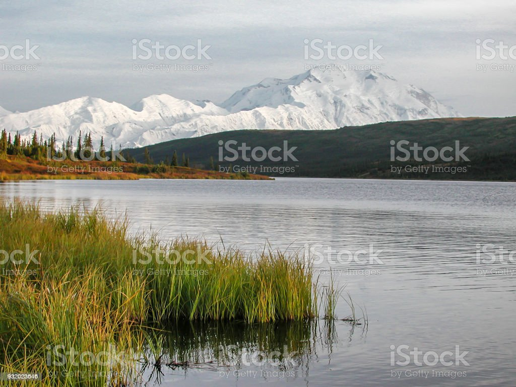 Wonder Lake with Mount Denali in Background stock photo