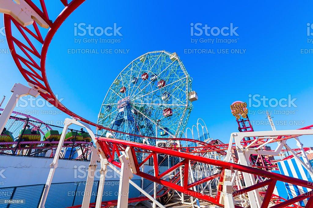 Wonder Wheel in Luna Park, Coney Island, Brooklyn, NYC stock photo