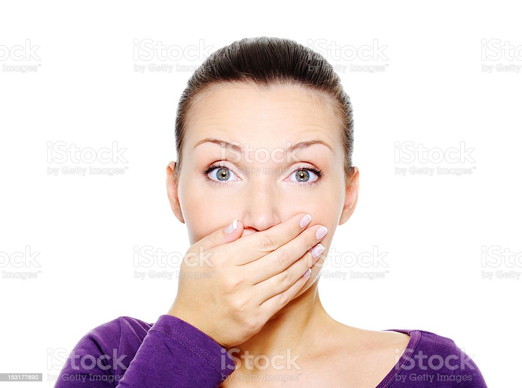 wonder woman lock her mouth by hand stock photo