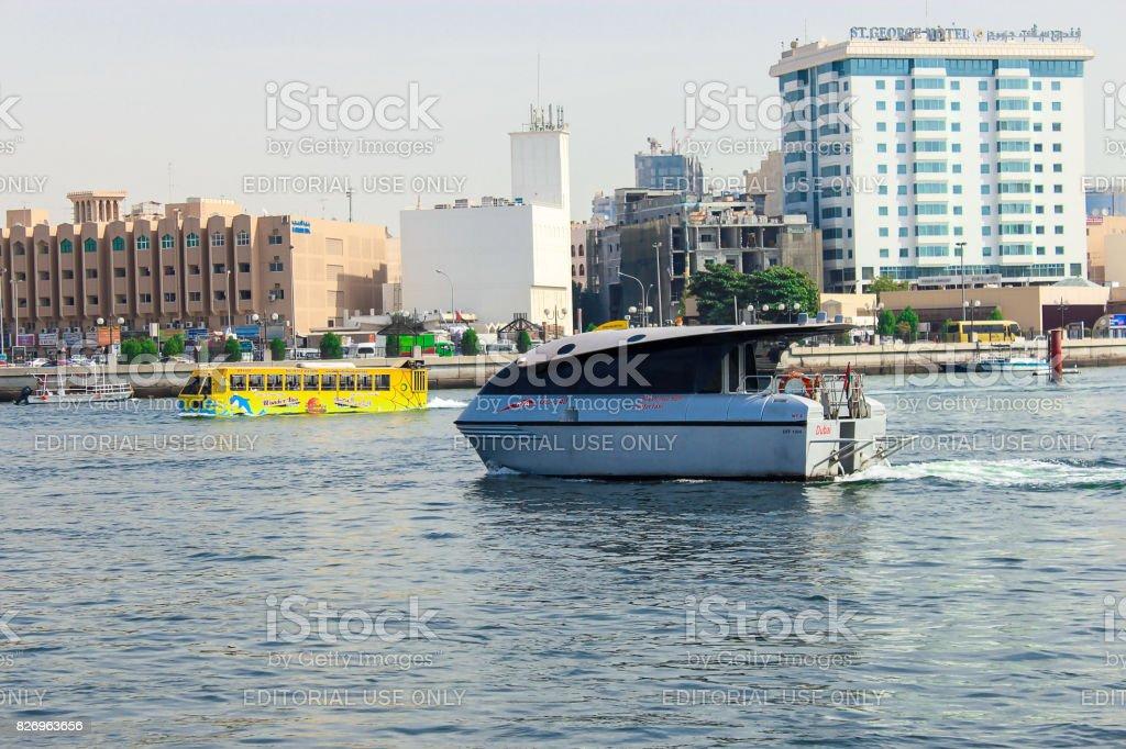 Wonderbus - excursion bus amphibian and water taxi on the Dubai Creek Bay stock photo