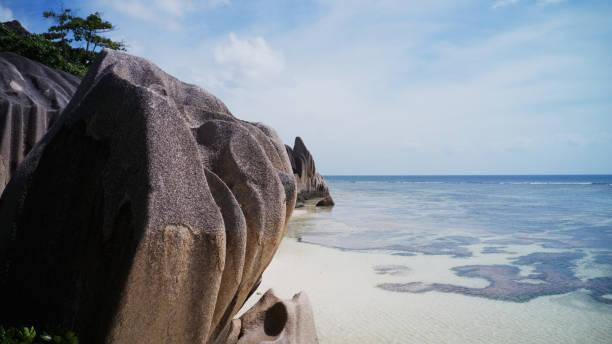wonderful amazing exotic tropical beach on Seychelles, La Digue stock photo