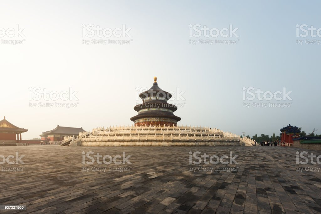 Wonderful and amazing Beijing temple - Temple of Heaven in Beijing, China. Hall of Prayer for Good Harvest. stock photo