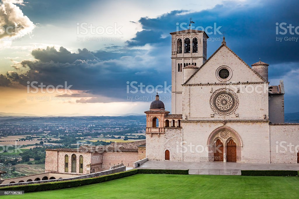 Wonderful architecture in Assisi, Umbria, Italy stock photo