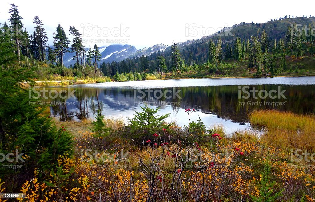Wonderful Autumn in Picture lake, Mt Baker stock photo