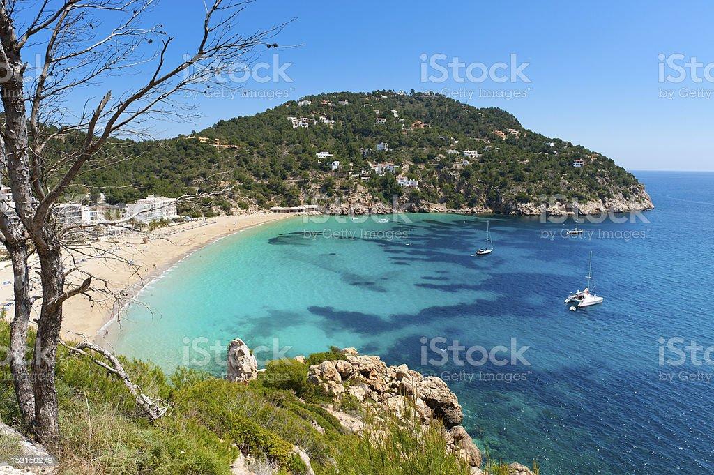 Wonderful beach called Cala de San Vicente with blue sea stock photo