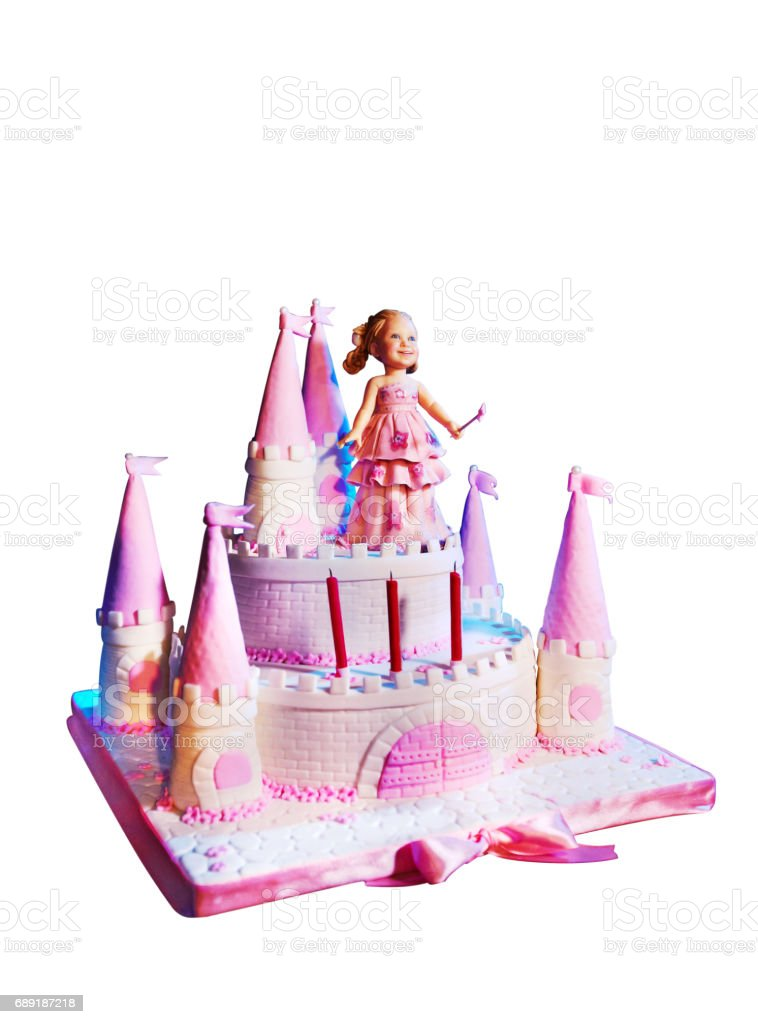 Wonderful Cake Castle Shaped For Small Girl Birthday Isolated On