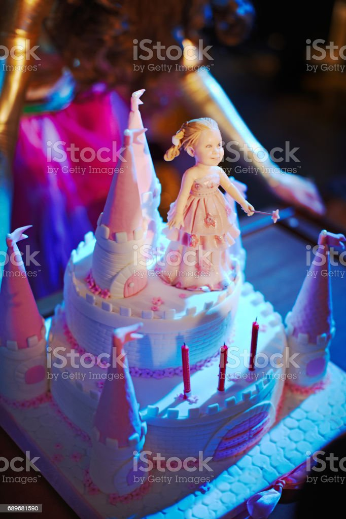 Wonderful Cake For Baby Girl Birthday Castle Princess Stock Photo Download Image Now Istock