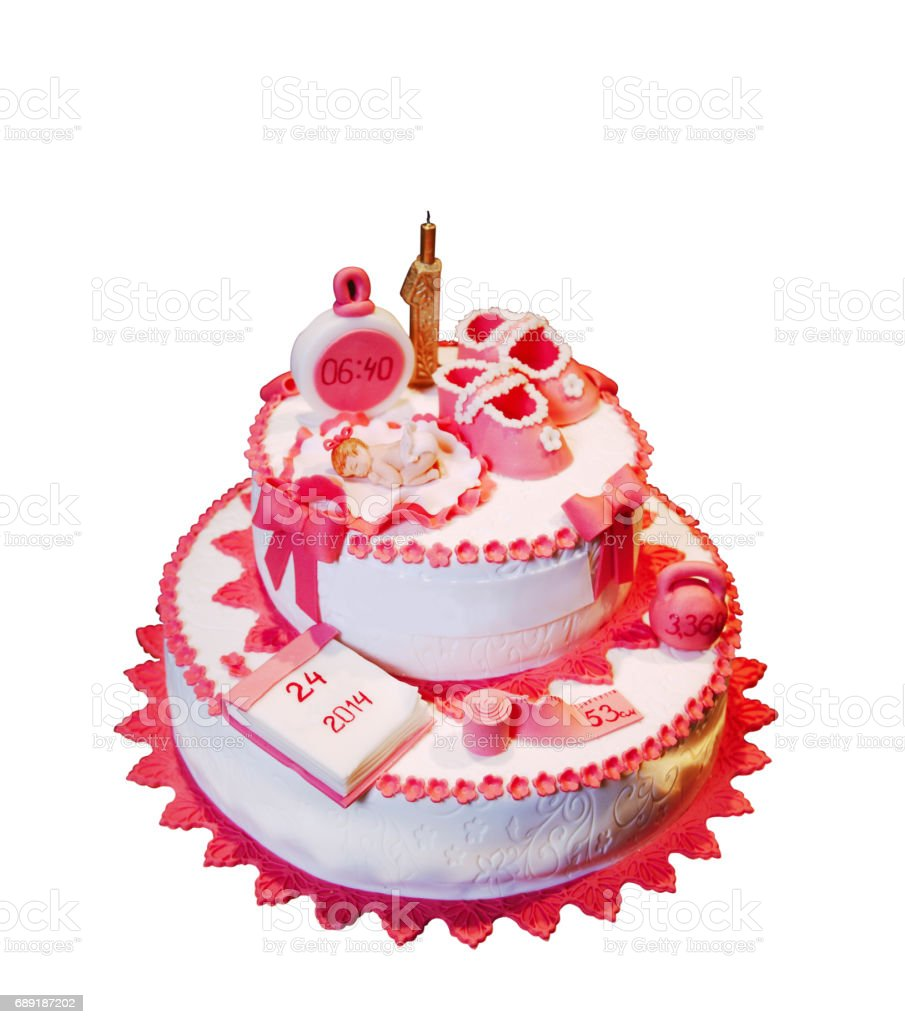 Wonderful Cake For Small Girl 1st Birthday Isolated On White Stock