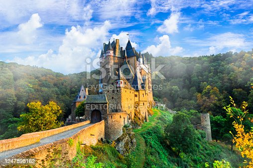 One of the most beautiful and famous castles of Europe. Burg Etz above the Moselle River between Koblenz and Trier, Germany