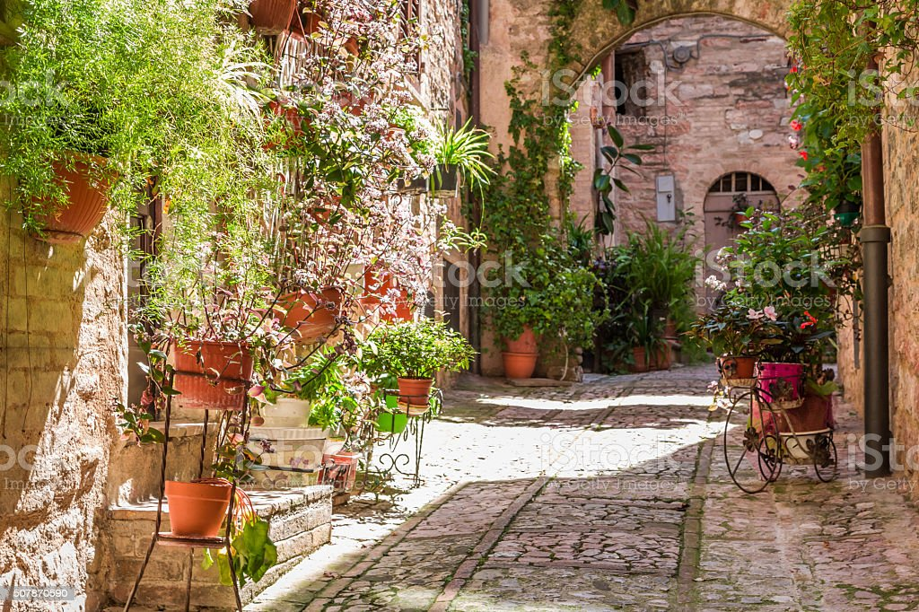 Wonderful decorated porch in small town in Italy in summer stock photo