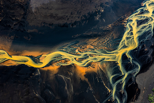 Wonderful Dreamscape Of Iceland With Flowing Glacial Rivers Taken From A Helicopter Stock Photo - Download Image Now