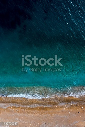 999001484 istock photo Wonderful emerald-colored sea and beach taken directly above from a drone 1135720397
