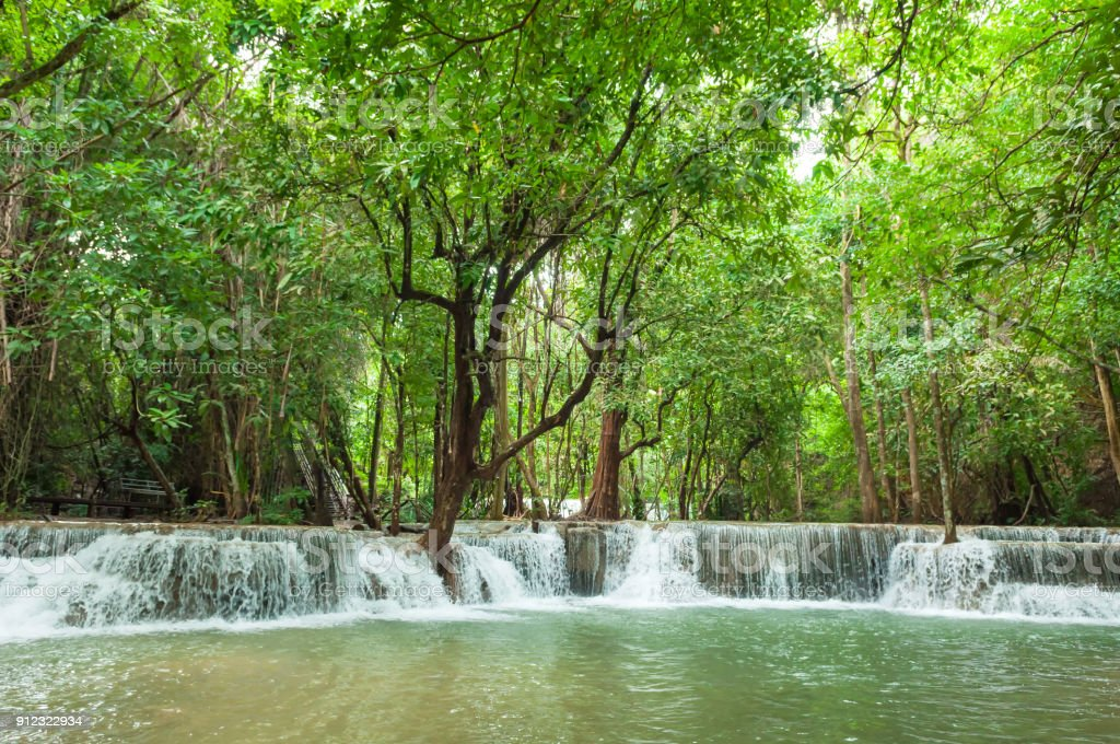 Wonderful green waterfall and nice for relaxation, Breathtaking and amazing green water at the evergreen forest, Erawan waterfall located Khanchanaburi Province, Thailand stock photo