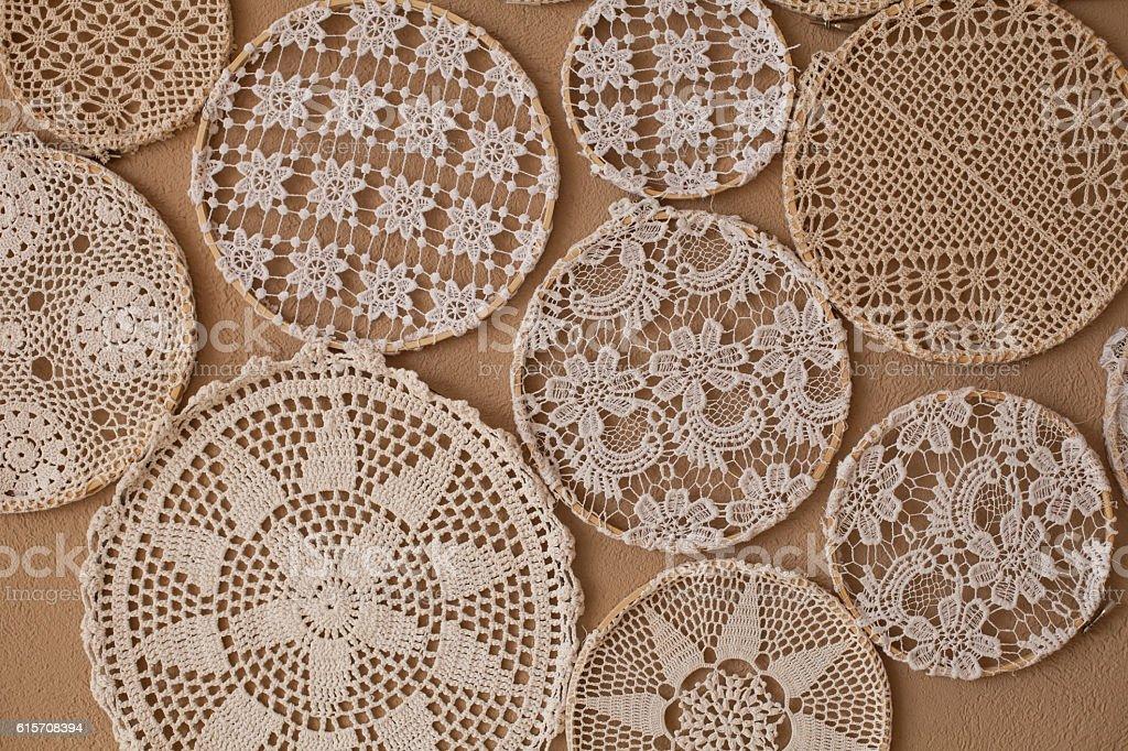 Wonderful knitting laces stock photo