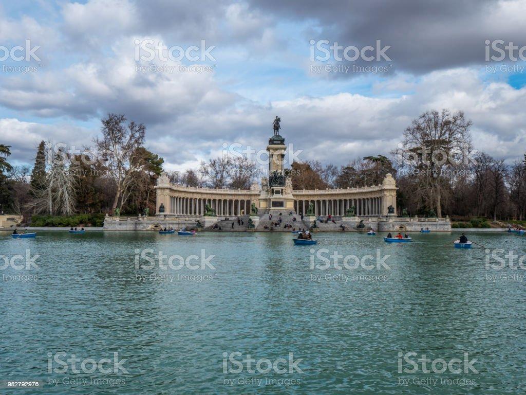 Wonderful lake in Retiro Park Madrid with its paddle boats