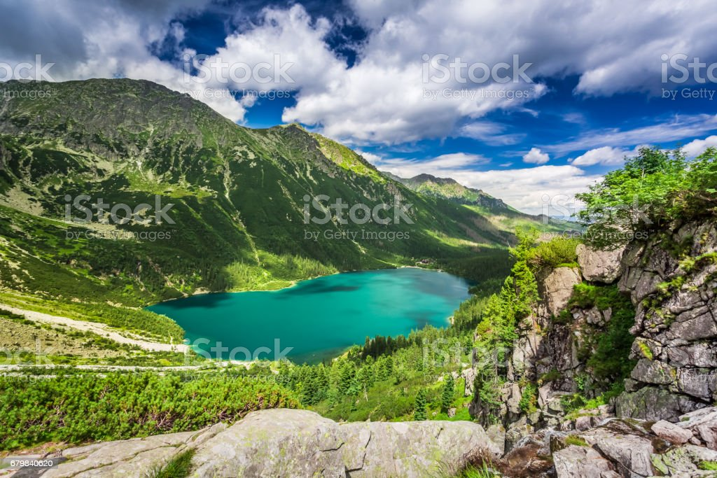 Wonderful lake in the mountains in summer, Poland, Europe stock photo