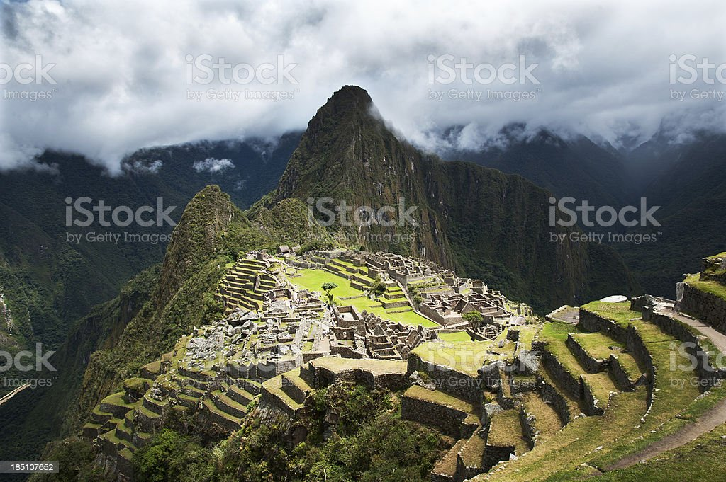 Wonderful landscape view of Machu Picchu in Peru stock photo