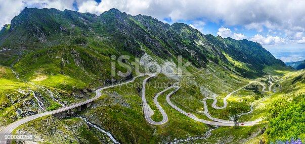 istock wonderful mountain scenery. mountain road with perfect blue sky. Romania. Carpathians, Ridge Fagarash. Transfagarasan road. 920030258
