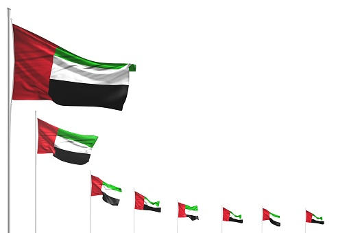 nice many United Arab Emirates flags placed diagonal isolated on white with space for content - any feast flag 3d illustration