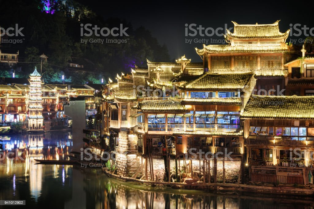Wonderful night view of Phoenix Ancient Town (Fenghuang), China stock photo
