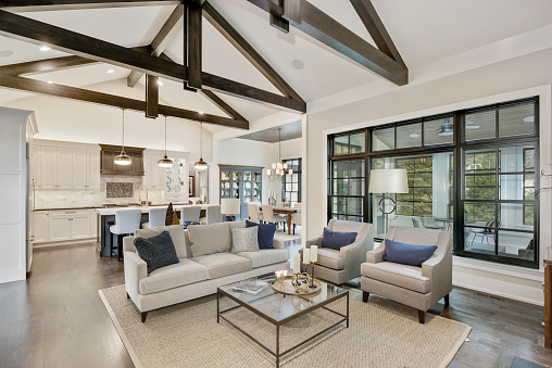 Wonderful open floorplan in new luxury home with black trim windows