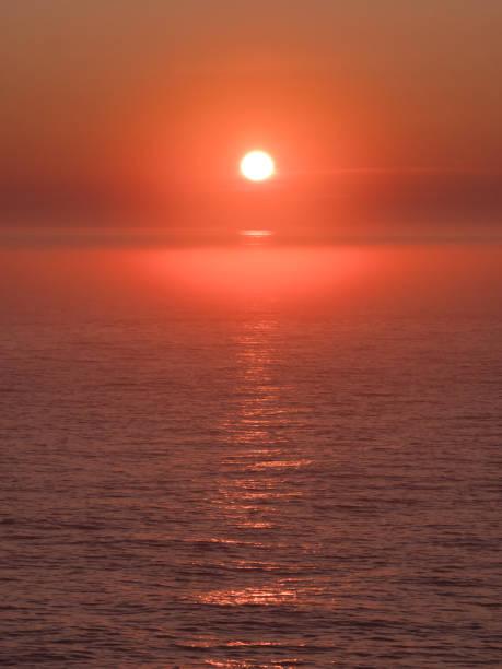Wonderful Orange, red sunset over the sea stock photo