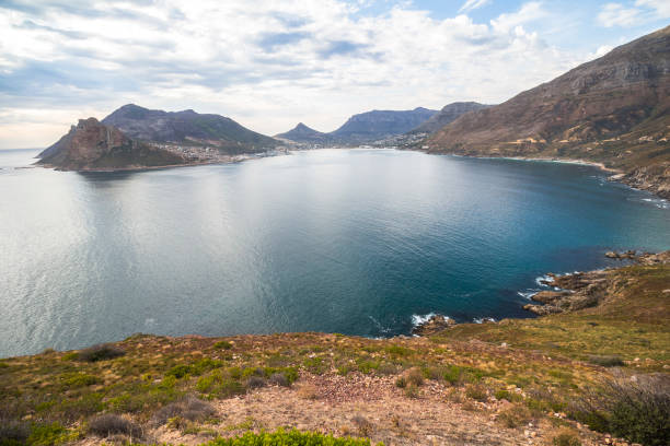 Wonderful panorama view on Hout Bay from Chapmans Peak Drive Wonderful panorama view on Hout Bay from Chapmans Peak Drive, South Africa hout stock pictures, royalty-free photos & images