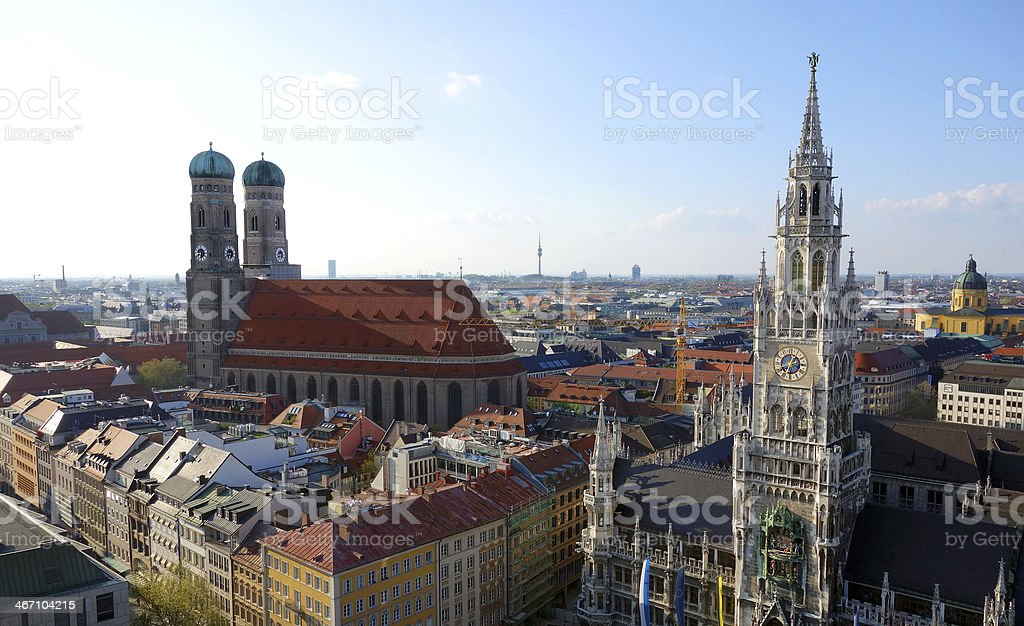 Wonderful panoramic view over Munich at dusk royalty-free stock photo