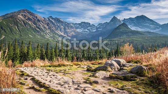 870409146 istock photo Wonderful path to the mountain valley in Tatras in autumn 870402912