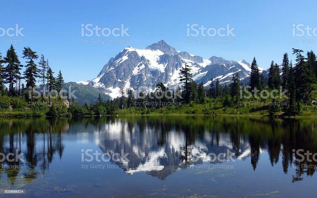 wonderful Picture Lake Reflection,Mt Baker stock photo