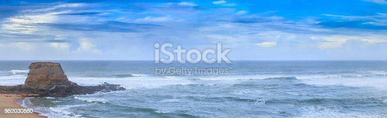 Wonderful romantic panoramic seascape coastline of Atlantic ocean. View Porto Novo beach in Vimeiro in low season at stormy weather. Oeste, municipality Lourinha in Portugal. Portugal