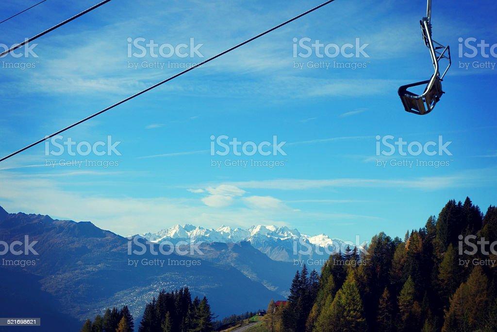 Wonderful shot of the Mont Blanc Massif taken from Switzerland stock photo