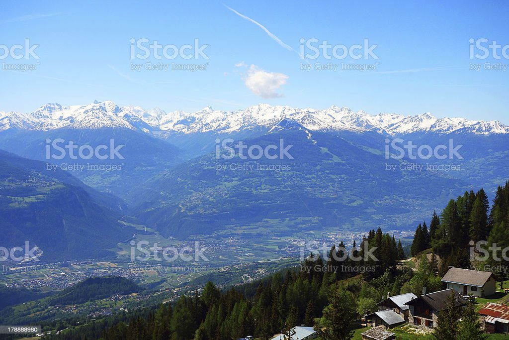 Wonderful shot of the swiss mountain range stock photo