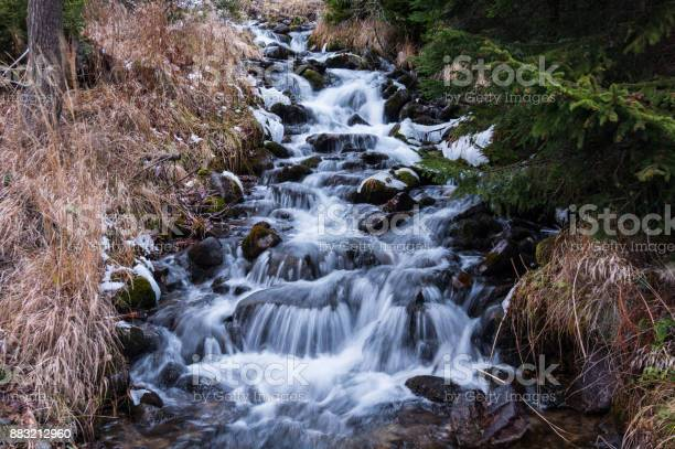 Photo of Wonderful small and fast mountain creek cascading downhill through the boulders (long exposure)