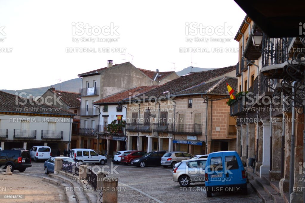 Wonderful Square Of The Town Of Riaza Cradle Of The Red Villages In addition Of Beautiful Medieval Town In Segovia. Architecture Landscapes Travel Rural Environment. stock photo