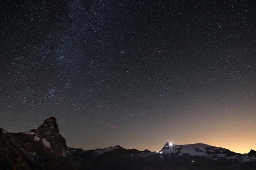 Wonderful starry sky over Matterhorn (Cervino) mountain peak