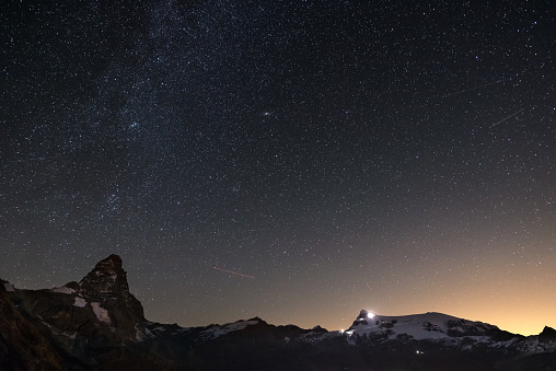 Wonderful starry sky over Matterhorn (Cervino) mountain peak