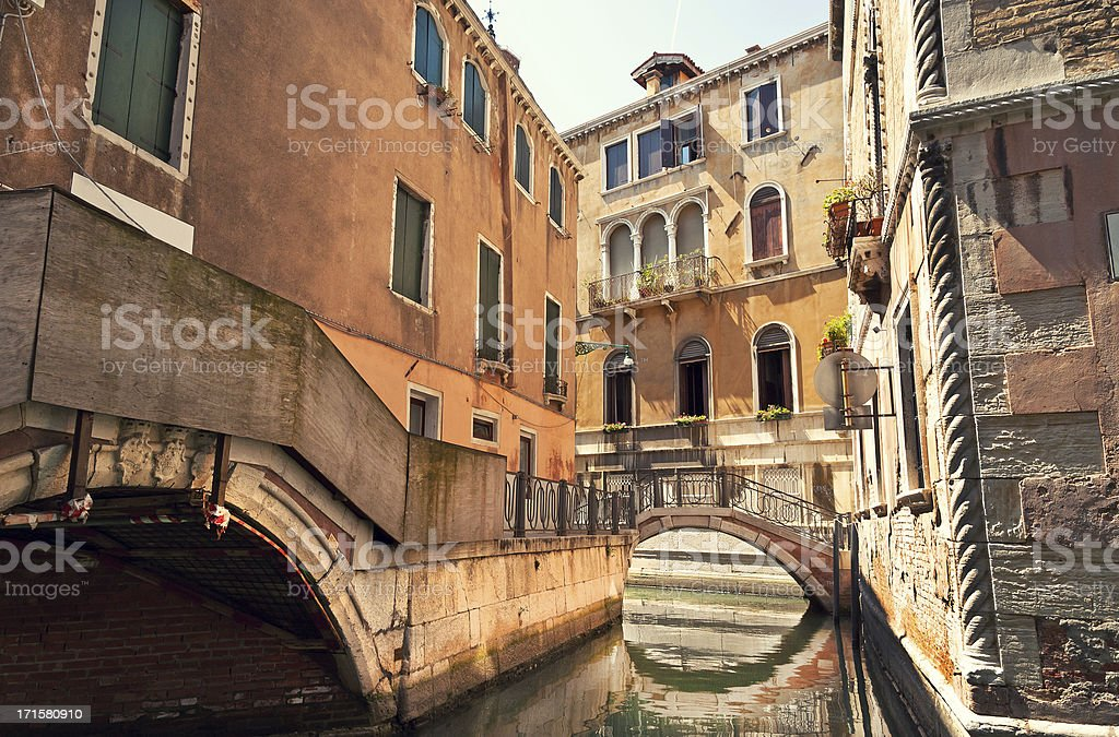 Wonderful Stock Photo Of A Venetian Water Alley royalty-free stock photo
