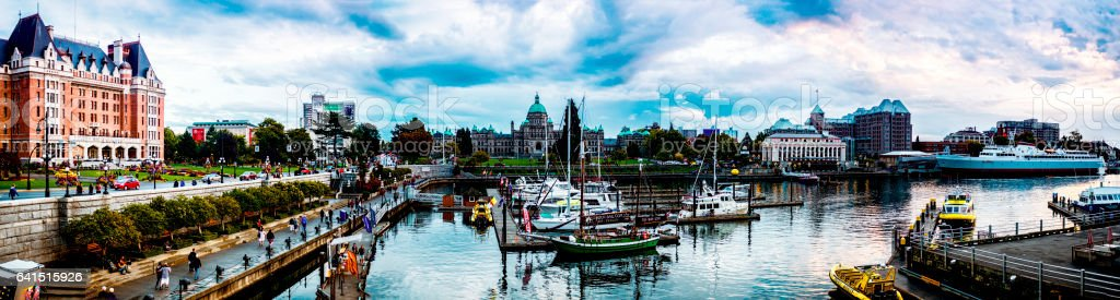 Wonderful summer evening in Victoria inner harbour, BC Canada. stock photo