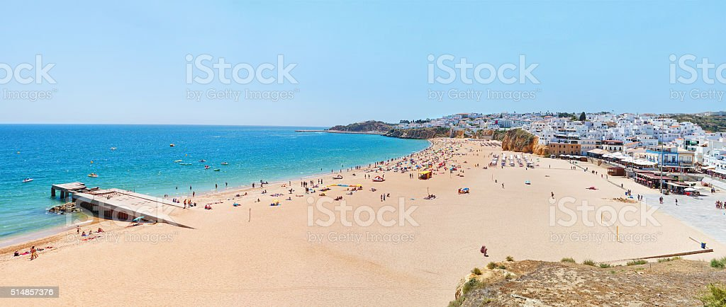 Wonderful summer panorama of sea and beach in Albufeira. stock photo