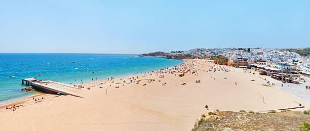 Wonderful summer panorama of sea and beach in Albufeira. stock photo
