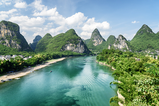 Wonderful summer sunny landscape at Yangshuo County of Guilin