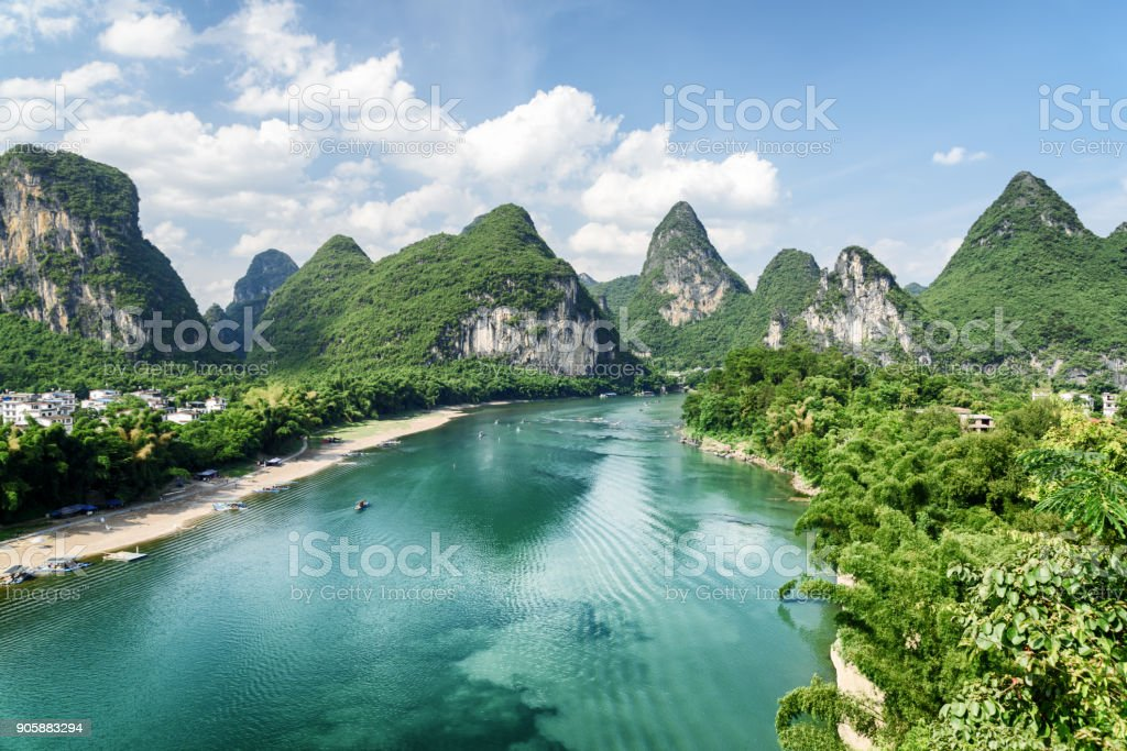 Wonderful summer sunny landscape at Yangshuo County of Guilin stock photo