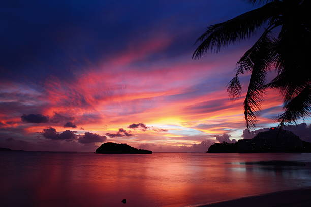 wonderful summer sunset in guam - guam foto e immagini stock