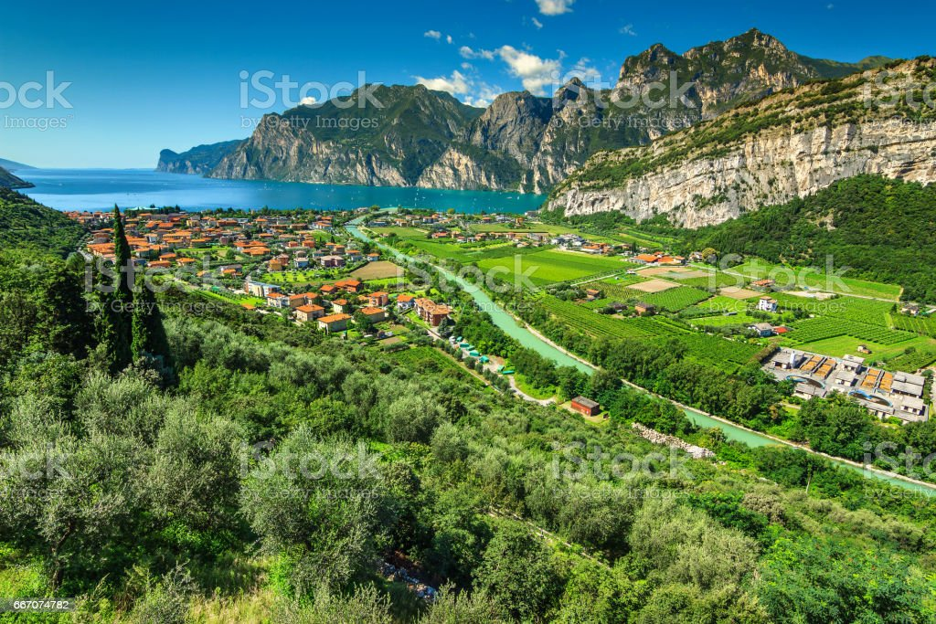 Wonderful sunny day on Lake Garda, Torbole, Italy, Europe stock photo
