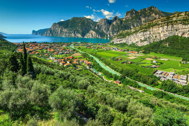 wonderful sunny day on lake garda, torbole, italy, europe - romania stock photos and pictures