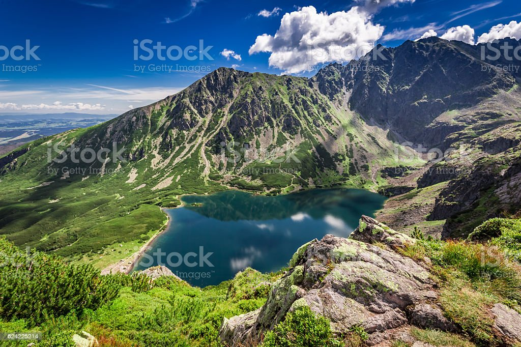 Wonderful sunrise at Czarny Staw Gasienicowy in summer, Tatras stock photo